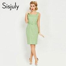 Sisjuly женщины 1950 s bodycon dress pin up рукавов кнопка пояса элегантный dress лето женский зеленый роскошный bodycon 2017 платья(China (Mainland))