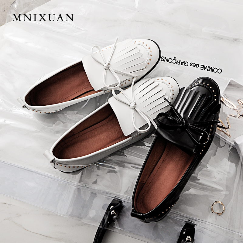 MNIXUAN Office ladies women shoes flats oxfords 2018 new autumn round toe patent leather rivet fringe shoes big size 34-43 black big size 34 43 solid patent leather women oxfords british new fashion platform flats casual buckle strap ladies shoes woman hh88