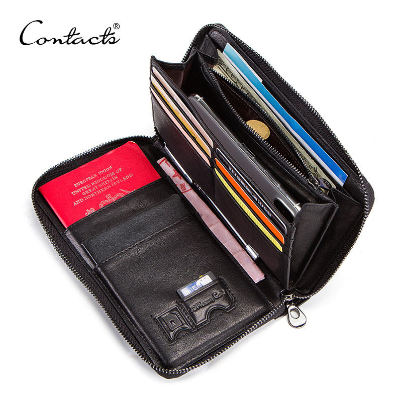 CONTACT'S 100% cow leather men's clutch wallet for cell phone card holders zip coin pocket man long wallet passport holder male thinkthendo new male genuine cow leather wallet card package retro woven passport business cards holder