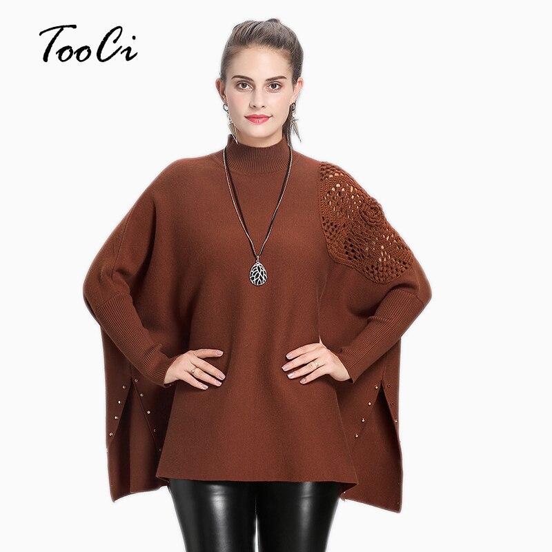 2018 mode Design Style femmes col haut rouge Poncho pull pour femme coton tricoté gland chaud hiver châle Capes