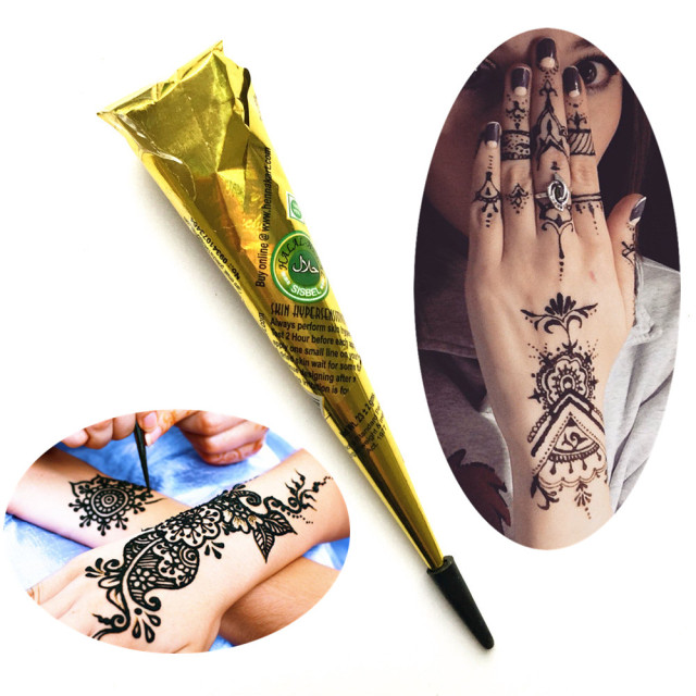 Bh1704 1 Piece Black Henna Cuff Tattoo With Flower Wrist: Aliexpress.com : Buy 1PC Black Ink Color Henna Tattoo