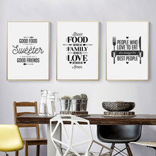 Nordic Black White Minimalism Canvas Print Painting Creative Kitchen Tableware Poster Home Decoration Wall Art Modular Pictures(China)