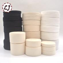 Cinta de encuadernación de algodón para embalaje de prendas, accesorios hechos a mano de sarga lisa, color blanco y negro, 5yd/lote