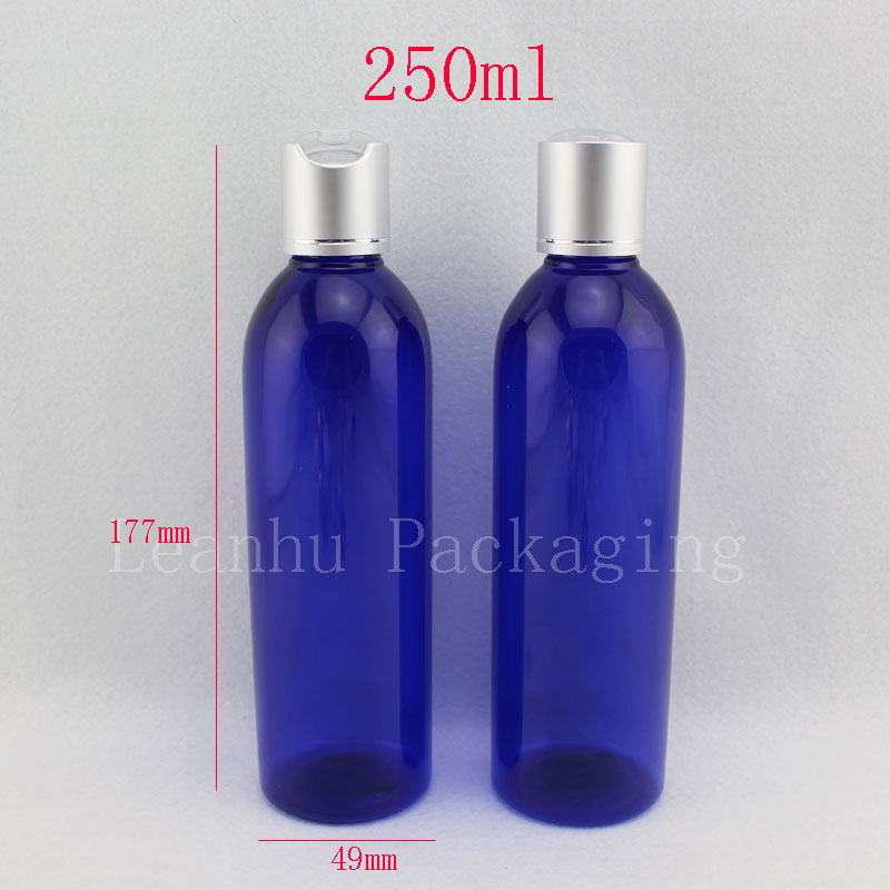 250ml blue empty plastic lotion bottles with caps , 250cc DIY plastic Bottle With silver Cap,blue cosmetic packaging bottles