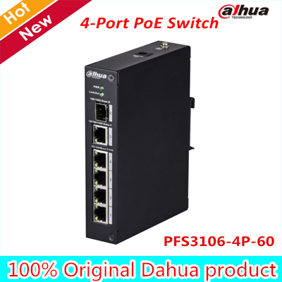 Dahua POE Switch PFS3106-4P-60 4-Port PoE Switch (Unmanaged) CCTV IP Accessory цена