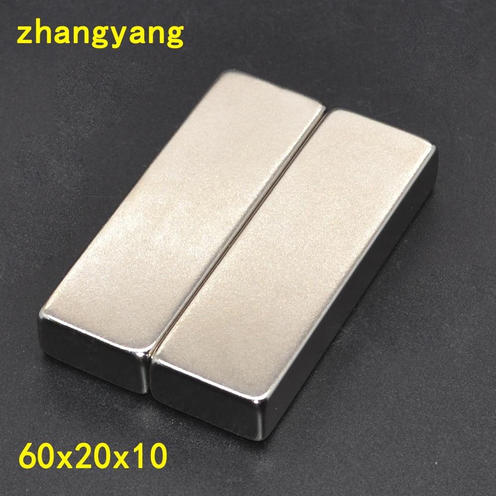 1pcs 60 x 20 x 10mm Super Strong Rare Earth Permanet Magnet Powerful Block Neodymium Magnets 60*20*10 60x20x10