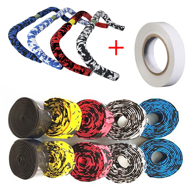 1 pair Road Bike Bicycle Handlebar Tape Camouflagebelt Cycling Handle Belt Cork Wrap with Bar Plugs non slip absorb sweat