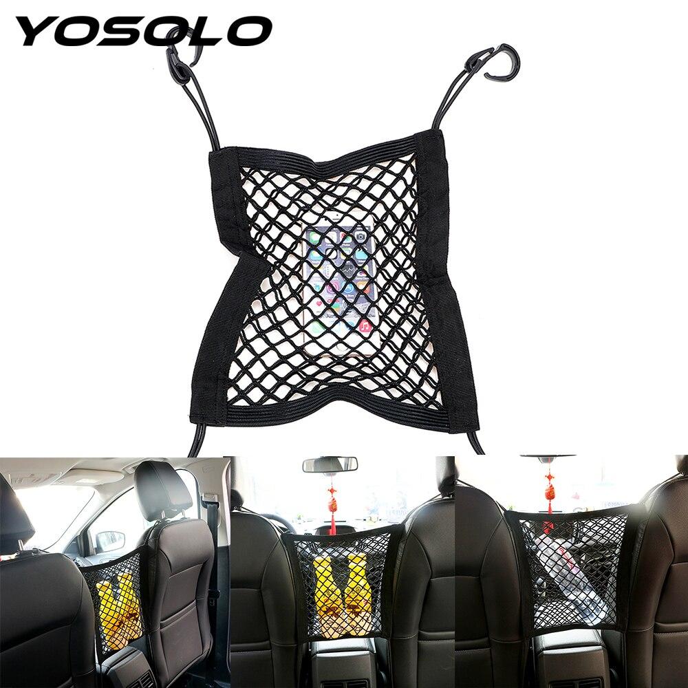 YOSOLO Seat Bag Hanging Bag Elastic Mesh Net Car Truck Storage Organizer Chair Holder Luggage Hooks Car Accessories Car-styling