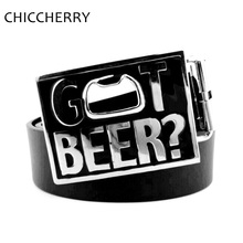 "Great black ""GOT BEER?"" PU Leather Belt / Beer Opener"