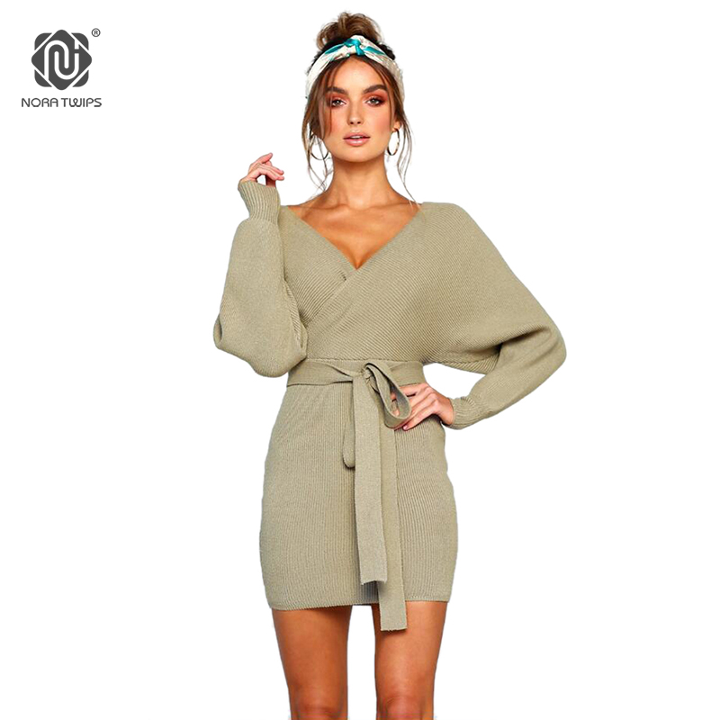 Sweaters Nora Twips New Autumn Winter Women Sweater Dress Women Cross Double V-neck Knitted Warm Dresses Sexy Bodycon Slim Belted Dress Attractive And Durable Women's Clothing