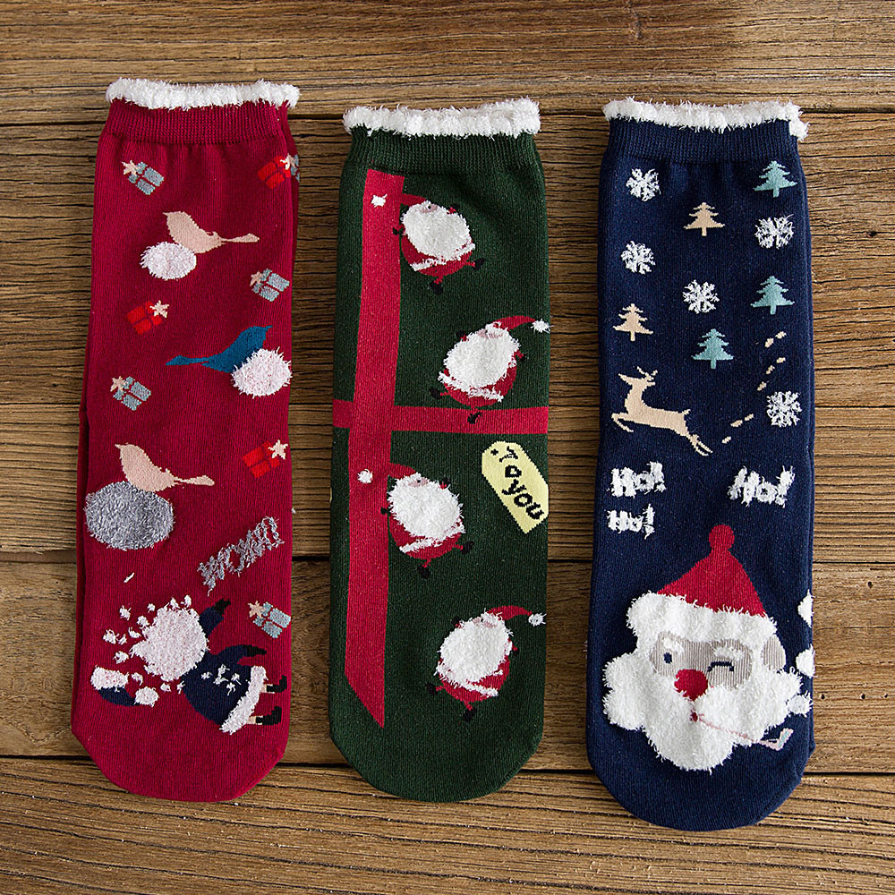 2019 New Style 3 Pairs Set Christmas Unisex Cotton Socks Multi-Color Women Men Winter Socks Wolovey Drop Shipping #P16