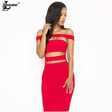 Lei SAGLY High Quality Women Sexy Nightclub Dress Streetwear Clothes Red and Black Bandage