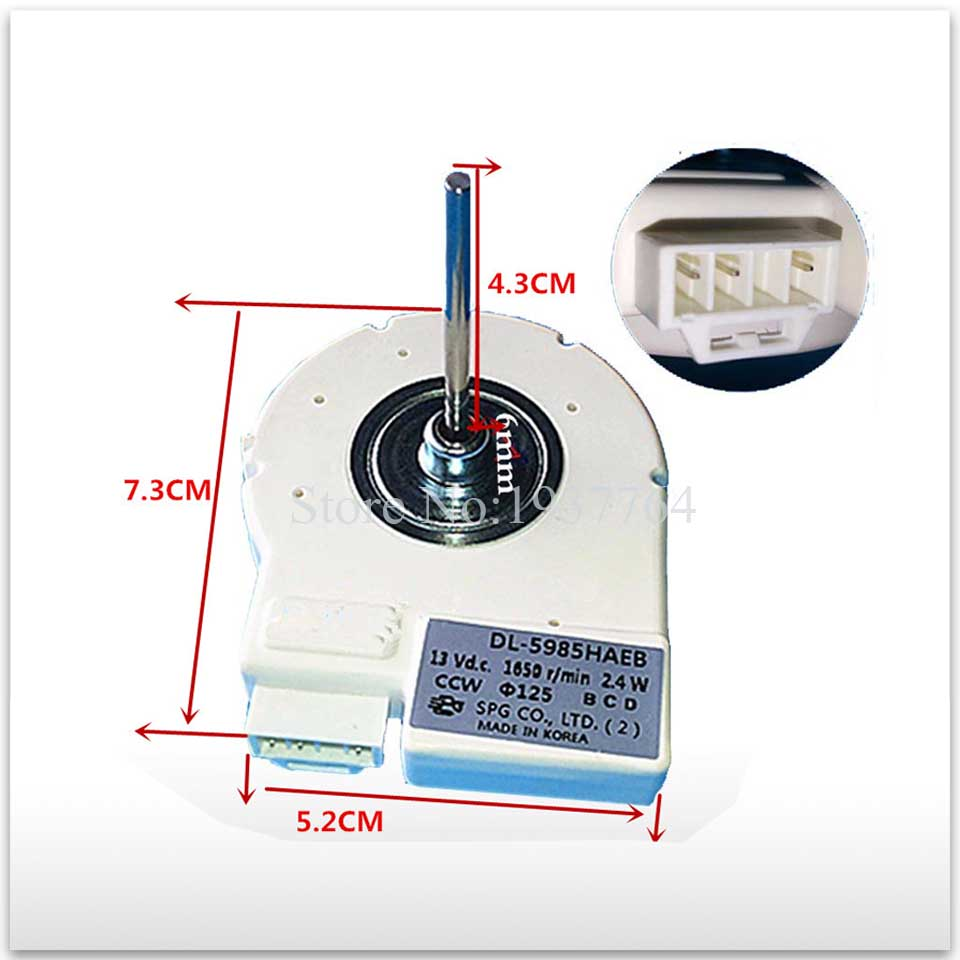 new refrigerator freezer Double open the door Fan motor for DL-5985HAEB DC12/13VV good working for refrigerator freezer zwf 02 2 12v dc refrigerator fan motor