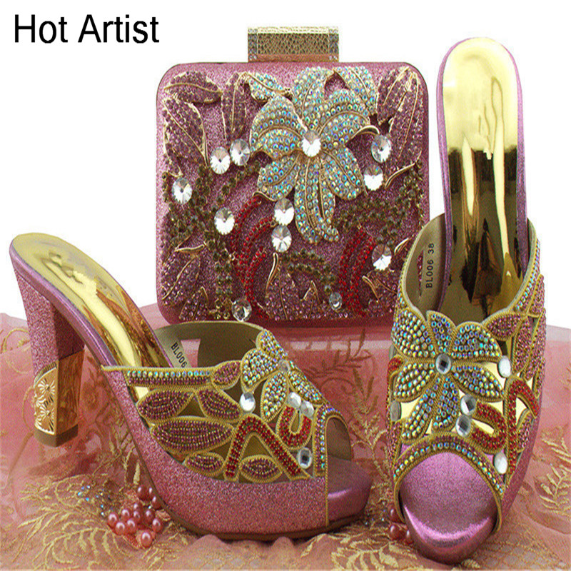 Hot Artist Nigerian Shoes And Bag Set For Women Dress Fashion Rhinestone Slipper Woman Shoes And Special Bag Set For Party BL006 hot artist african style slipper shoes and matching bag set fashion rhinestone ladies pumps shoes and bag set for party me7708
