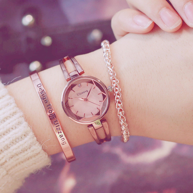 Fashion Rose Gold Lady Wristwatch Luxury Simple Women Bracelet Watches Casual St