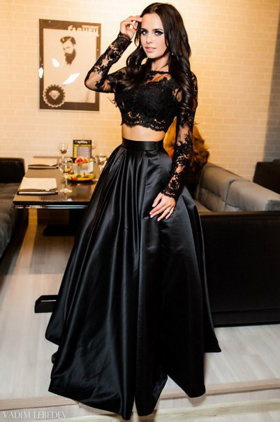 Black Two Piece   Prom     Dresses   2019 robe de bal Long Sleeve Sheer Imported Party   Dress   A Line Lace Formal Women Evening Gowns