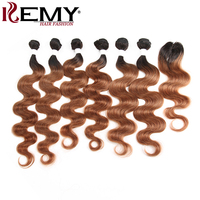 Ombre Brown Human Hair Bundles With Closure KEMY HAIR Brazilian Body Wave Human Hair Weaves 6 Bundles Non Remy Hair Extension