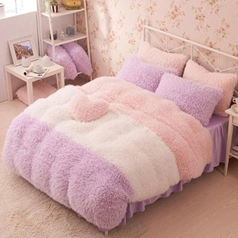 Фланелевые Короткие Плюшевые постельные принадлежности пододеяльник набор зимний стиль комплект постельного белья Полный/королева/корол