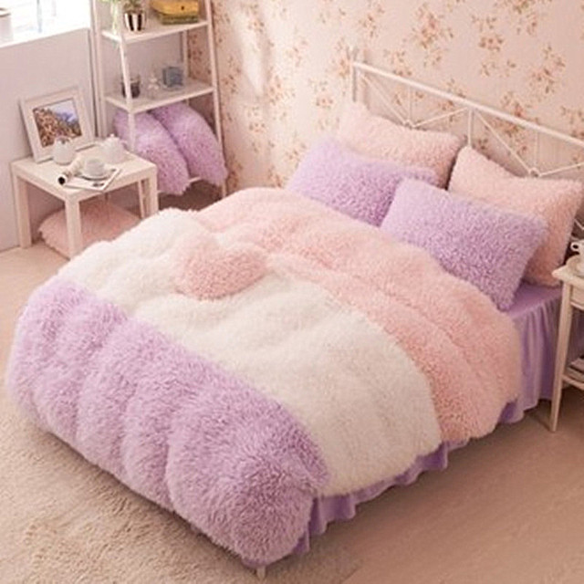 Flannel Short Plush Bedding Duvet Cover Set Winter Style Full Queen King