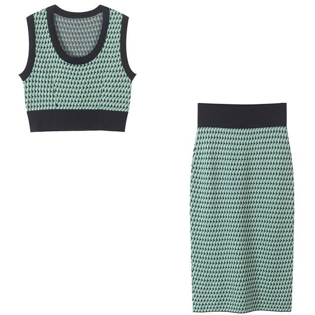 SRUILEE Sweet Striped Suit Femme 2019 New Summer Sexy 2 Piece Set Women Suit Skirt Crop Top Knit Outfits Runway Set Geometric