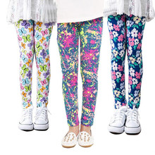 VEENIBEAR New Flower Print Girl Pants Comfortable Cool Summer Girl Leggings Children Kids Pants Baby Girl Clothes Trousers 2-13T(China)
