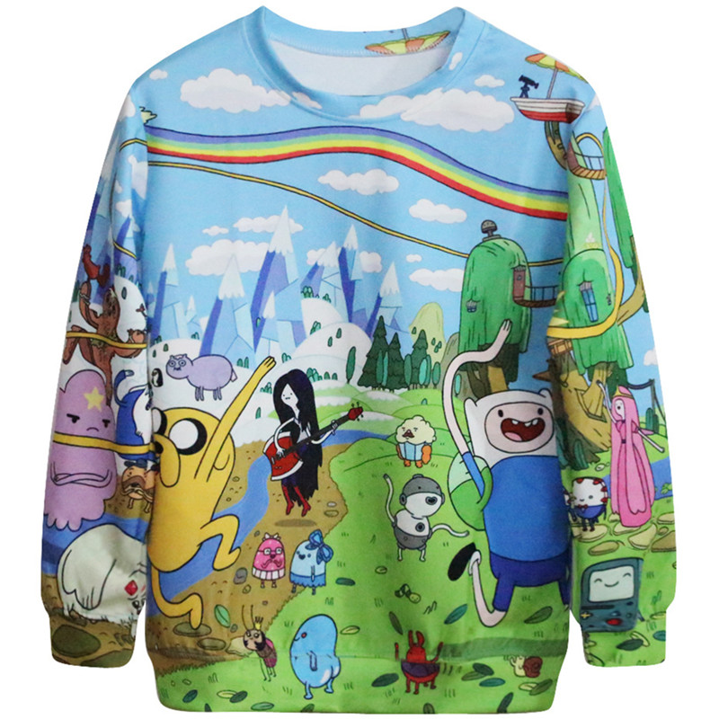 Harajuku 3D Print Adventure Time Finn Jake Sweatshirts coat Men font b Women b font Beemo