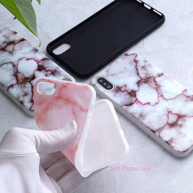 SoCouple For iphone 5s 5 SE 6 6s 8 6/7/8 plus X Granite Scrub Marble Stone image Painted Silicone Phone Case For iphone 7 case 4