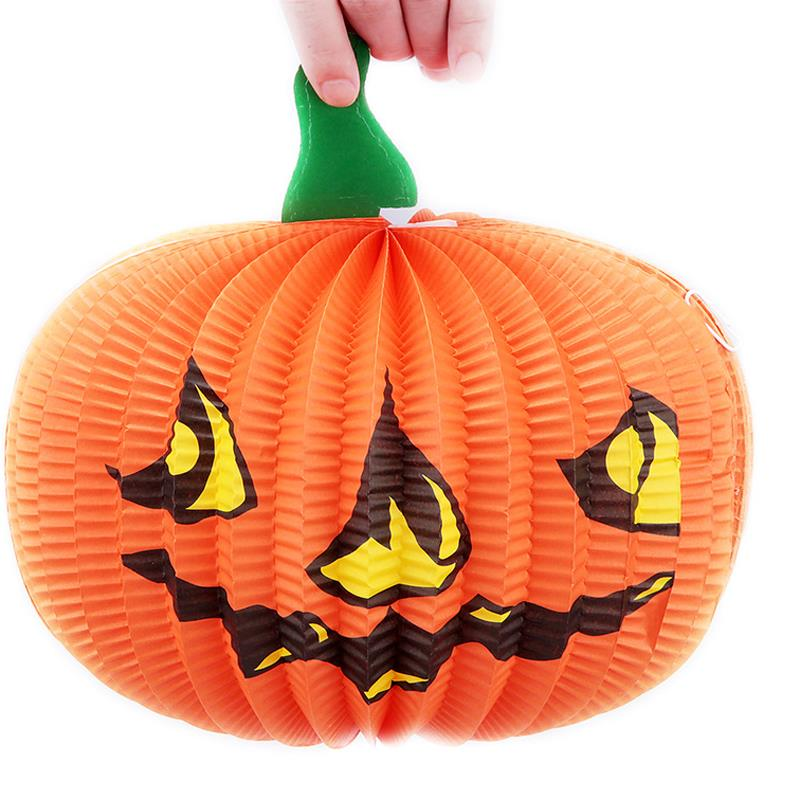 26cm 2pcs halloween decoration pumpkin light hanging paper lantern lamp outdoor party supplies 03 - Halloween Decorations Pumpkins