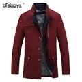 2016 de calidad superior de color caqui azul marino vino rojo largo trench hombres de la capa M-3XL mens hombres manteau abrigo larga chaqueta homme