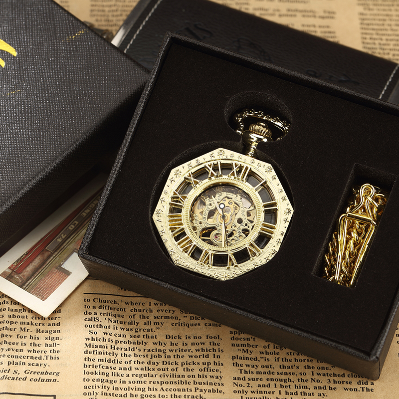Luxury Unique Hexagonal Roman Number Pocket Watch with FOB Chain Steampunk Full Steel Mechanical Hand-winding Gold Pocket Watch