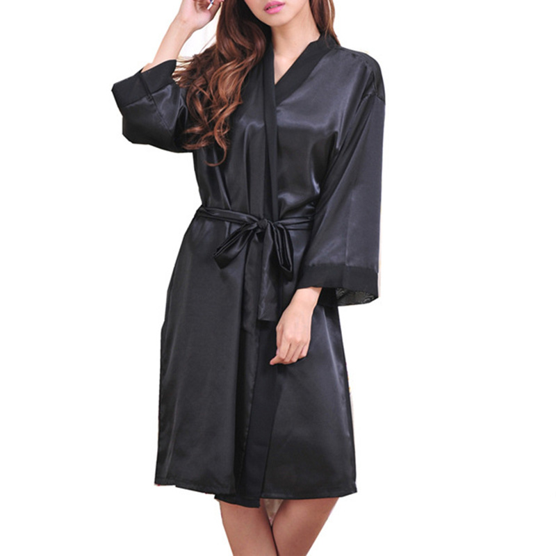 Women Long Satin Bathrobe Bridal Wedding Bride Bridesmaid Kimono Gown Robes sexy v neck long sleeve bandage knee-length sleewear ...