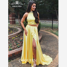 d80f53ffbdb 2019 Two Piece Prom Dresses With Beading Neck Yellow Satin Under 100 Sexy Split  Long Crop