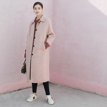 059741a30fb4 WHITE ISLAND Winter Pink Double-sided Cashmere Wool Coat X-Long Over Knee  Keep Warm Double-sided Woolen Coat Women 8413