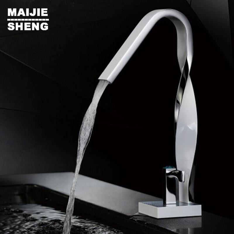 Bathroom twist style basin faucet waterfall basin faucet water tap sink mixer tall waterfall basin mixer bathroom faucet crane infos bathroom led waterfall water tap