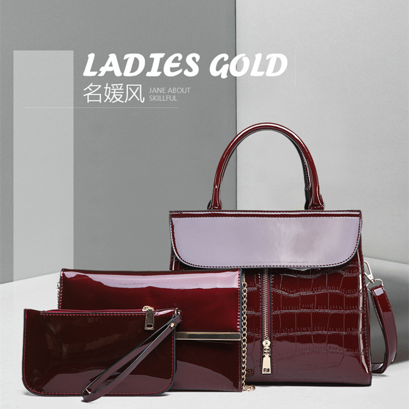 Pu Lacquer 2019 Bag Women Tote Bag Shoulder Bags Designer Handbags High Quality Simple Large New Winter European American in Shoulder Bags from Luggage Bags