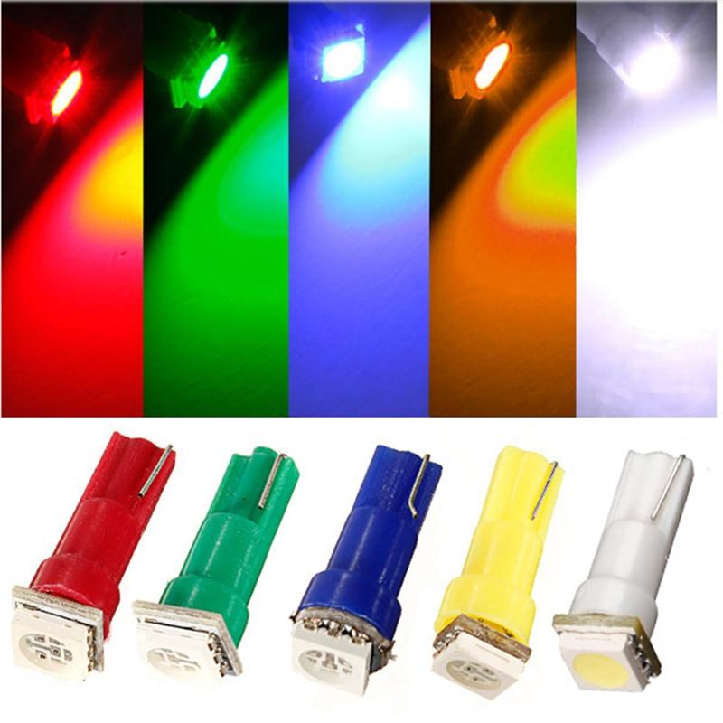 20pcs/lot T5 1 LED 5050 Instrument Lights Indicator Base for Dashboard Gauge LED Bulb 5 Color White/Blue/Red/Green/Yellow DC12V
