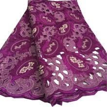 Hand Cut Lace Swiss Cotton In Switzerland With Rhinestones For Women Dress Nigerian Fabric 2018 High Quality BG-110