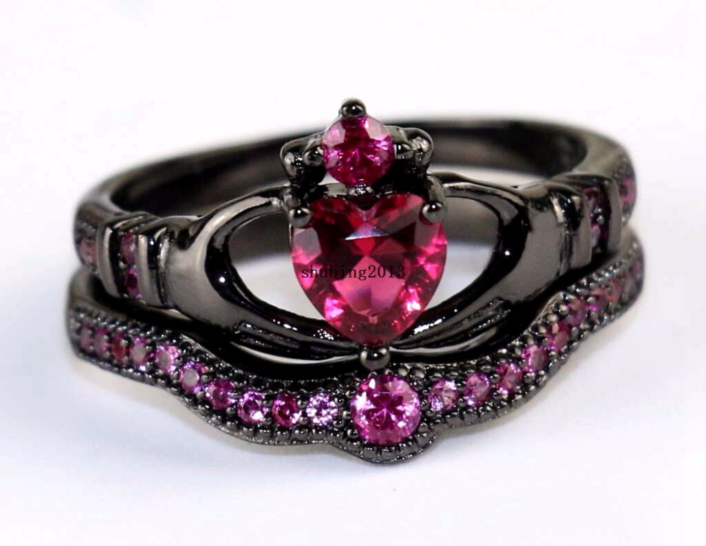 Irish Claddagh Ring Black Gold Filled Heart Red Zircon