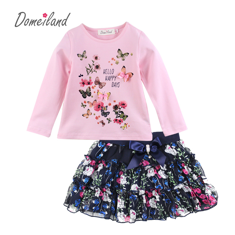 где купить 2017 Fashion Spring Brand Domeiland Boutique Outfits Children clothes Girls Sets Long Sleeve bow shirts Bow Chiffon Skirts suits по лучшей цене