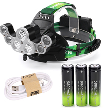 Светодиодный налобный фонарь XM L T6 7X, регулируемый, 50000 лм, ультра яркий, 18650 аккумулятор, для охоты, рыбалки, USB кабель, аккумулятор 18650 3 шт.