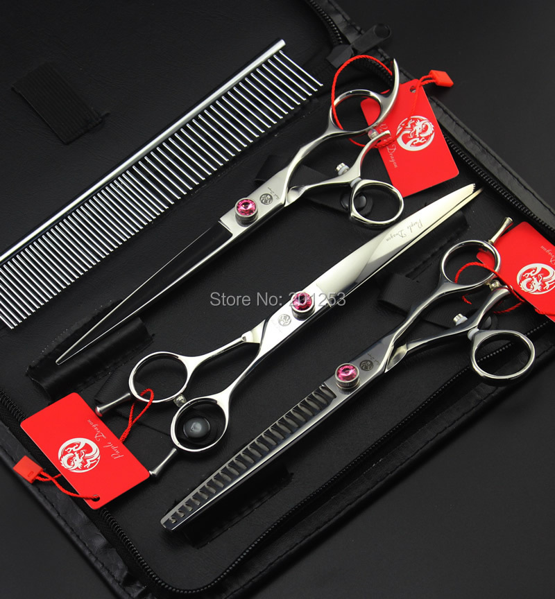 7.5Inch JP440C 360 Degree Rotation Pet Grooming Scissors Fur Clippers Dog Shears Straight &Thinning&Curved Scissors 3Pcs LZS0613 7 5inch jp440c 360 degree rotation pet grooming scissors fur clippers dog shears 3pcs