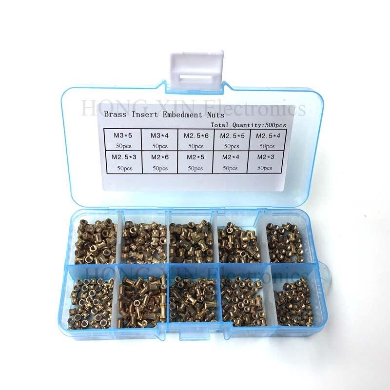500 шт./компл. вставьте крепежные гайки литая гайка латунные втулки рифленые гайки инструмент для накатки утопленные детали крепежа