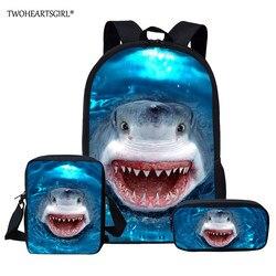 Twoheartsgirl dostosowane rekina plecak dla nastoletnich dziewcząt chłopców torby szkolne dla dzieci Kid lekki książka zestaw torba plecak szkolny 1