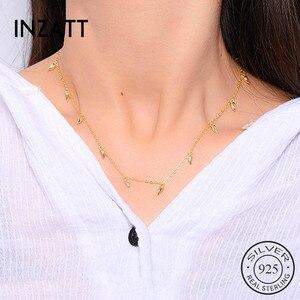 Image 1 - INZATT Echt 925 Sterling Silber Minimalis Wasser Drop Halskette Für Elegante Frauen Partei OL Feine Schmuck Geometrische Zubehör