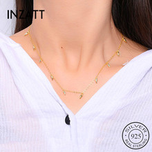 Inzatt real 925 prata esterlina minimalista gota de água colar para mulheres elegantes festa ol jóias finas acessórios geométricos