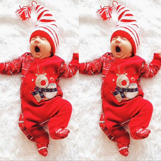 1b02d52a6eeb Baby s Christmas Romper Newborn Baby Boys Girls Deer Rompers Outfits  Clothes Long Sleeve Cotton Infant Jumpsuit Cartoon Costume