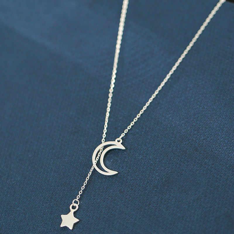 Fabryka cena srebrny Hollow Moon Star naszyjniki 925 choker łańcuszek naszyjniki biżuteria prezent na boże narodzenie