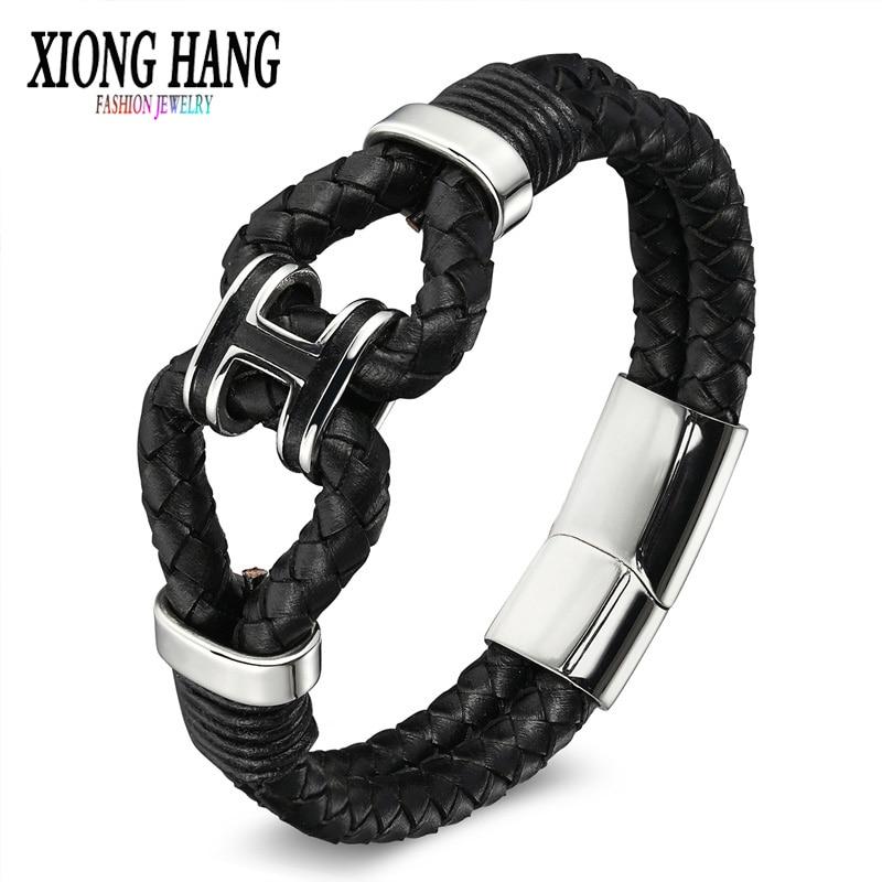 XiongHang Black Braid Woven Leather Bracelet Titanium Stainless Steel Bracelet Men Bangle Men Jewelry Vintage Gift