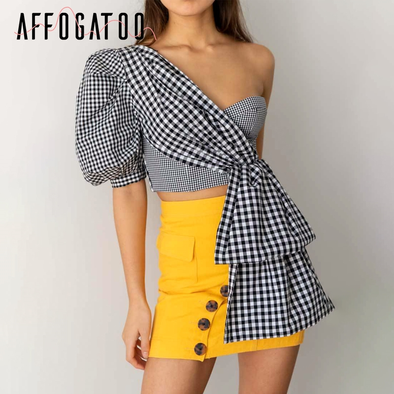 Affogatoo Sexy one shoulder summer crop   top   women Casual puff sleeve plaid splice   top   female Elegant party club ladies   tank     tops