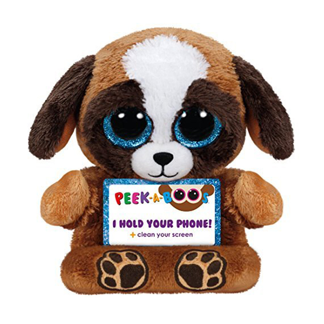 1a18ae1b983 Ty Peek-A-Boo Phone Holder with Screen Cleaner Bottom Pups the Dog Plush  Soft Stuffed Animal Collectible Doll Toy with Heart Tag